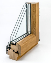 Дерево-алюминиевые окна из дуба Wooder Караганда